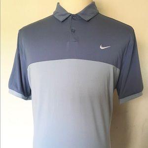 Nike Golf Dri Fit  L Gray Color Block Polo Shirt